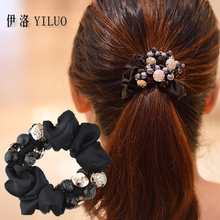 Silk Like Fabric Buttons & Beads Scrunchy Hair Accessories Hair Band Hair Ties FREE SHIPPING