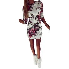 Women Clothes Half Sleeve Printed Elegant Floral Print Work Business Slim Elegant Club Party Pencil Sheath Dresses Vestidos