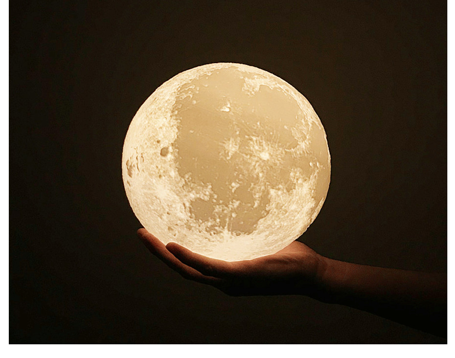 3D Full Moon Lamp Led Night Light USB Rechargeable 3D Print Moon Lamp Touch 2 Color Change / 16 Colors Lampara Luna Lamp Moon 9