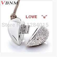 VBNM metal crystal love Heart USB Flash Drive precious stone pen drive special gift pendrive 8GB/16GB diamante memory stick(China)