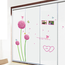 Zs Sticker Flowers Dandelion wall Stickers Home Decoration Accessories Bedroom Decor Wall Stickers Home Decor Living Room(China)