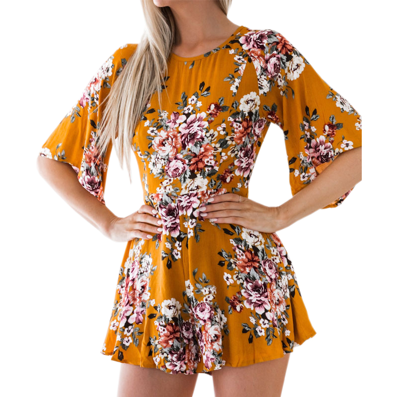 Elegant Sweet Floral Print Women Playsuits Sexy Jumpsuit Shorts  New Summer Half Sleeve Party Beach Playsuit Overalls GV417AE