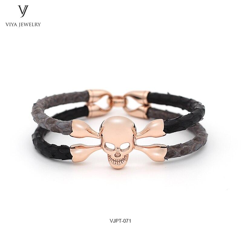customized mixed color Python leather bracelet,two colors leather bracelet ,genuine Python skull bracelet ,luxury pytnon men bracelets (2)