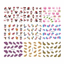 YZWLE 1 Sheet Optional Watermark Feather Cartoon Nails Stickers Water Transfer Decals Beauty Temporary Tattoos Tools For Nails