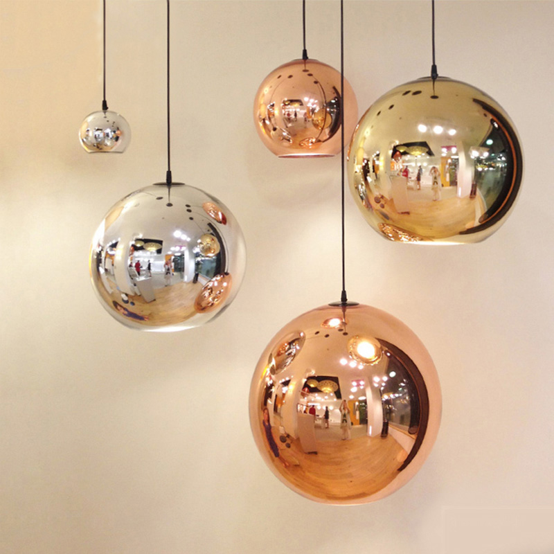 2017 LED Pendant Lights Glass Lampshade Copper Gold Silver Modern pendnat lamp E27 Bulbs Christmas Glass Ball lighting,110V/220V<br><br>Aliexpress
