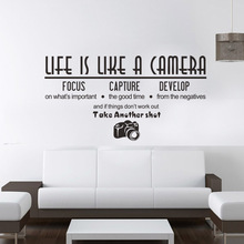 Creative Life Is Like A Camera Living Room Bedroom Decoration Wall Stickers Quotes Wallpaper Home Decor Mural Room Accessories