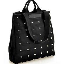 New Arrivel Black Hip-Hop Rock Style Women's Fashion Handbag Preppy Punk Rivet Thickening Canvas Woman Tissue Bag Textile a Bags(China)