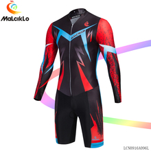 Malciklo Cycling sets Long sleeve Jumpsuit Cool Men Elastic Fabric Long Sleeve Road Bike Jersey Bicycle Outfit Coverall