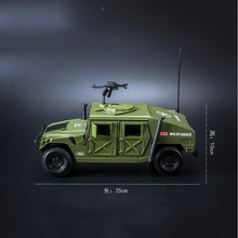 KDW 1/18 Hummer Battlefield Jeep Alloy Military Car Models Green Color With Box Children Gifts Toys Collections and Displays