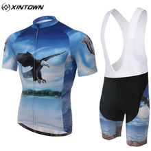 XINTOWN Eagle Graphic Mesh Breathable Material Cycling Short Jersey Short Pants MTB Bike Bicycle Sports High Elasticity Suits