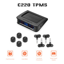C220 Zonne-energie TPMS Auto Bandenspanning Monitor Systeem 4 Externe of Interne Sensoren magicar hud car speed projector alarm(China)
