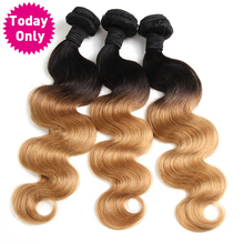 [TODAY ONLY] Blonde Brazilian Body Wave Bundles Ombre Human Hair Weave Bundles Two Tone 1b 27 Non Remy Hair Can Buy 3 or 4 Pcs(China)