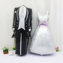 2PC x 57*118cm Groom Bride Wedding Dress Foil Balloon Marriage Decoration Balloon for Romantic Wedding Party Balloon