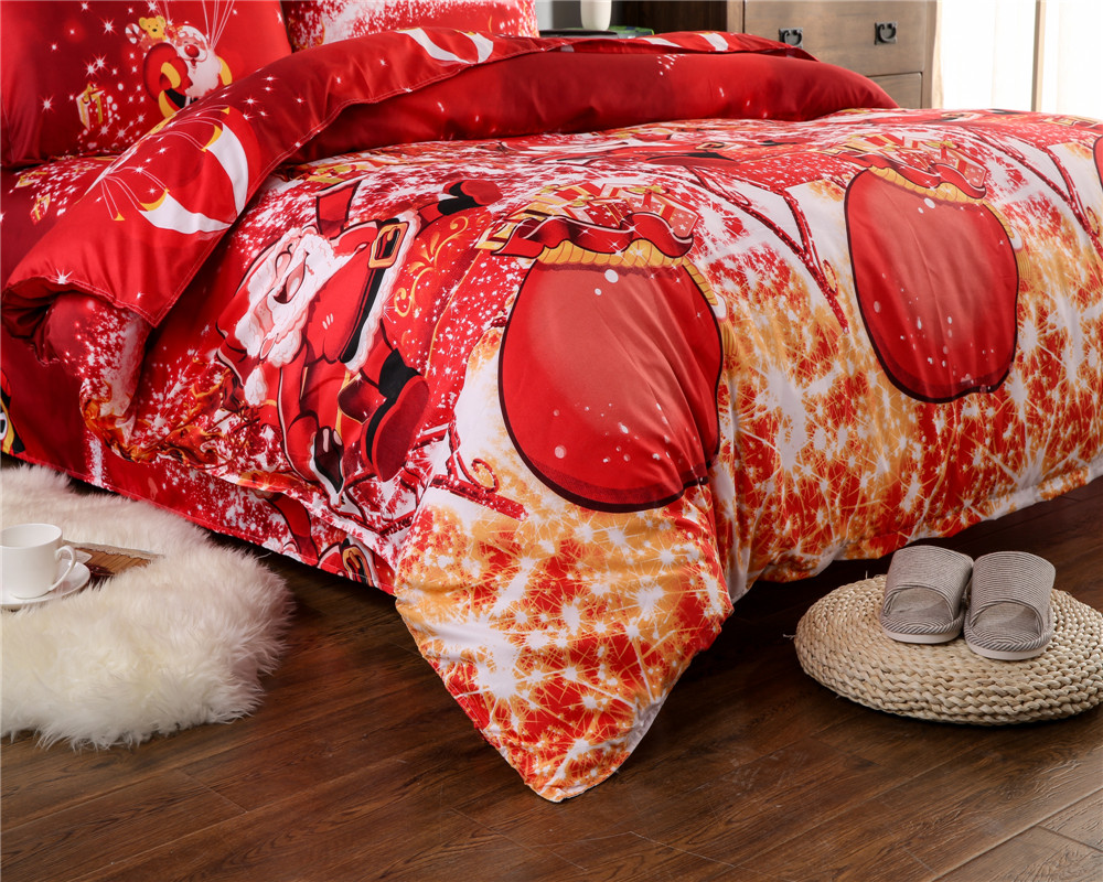 Great For Christmas, Set 4Pcs Christmas Santa Clause, 3D Bedding Set Duvet Cover Set,Sheet, Pillowcase, Sham Covers 7