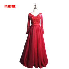 FADISTEE New arrival elegant party dress evening dresses Vestido de Festa appliques beading gown full sleeve V-opening back(China)
