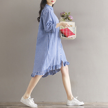 MAGGIE'S WALKER Pregnant Women Clothing Fashion Maternity Clothes Plaid Shirt Dress Plus Size Loose Stlye Pregnant Women Dress