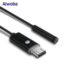 AIWOBA HD 2 In 1 USB Endoscope Camera Waterproof 10M Long Cable 5.5mm Flexible Endoscope Android USB Borescope Camera For PC