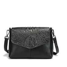 Fashion Crocodile Grain Genuine Leather Black Glod Women Bags Punk Casual Mini Messenger Bags Casual Travel Single Shoulder Bags(China)