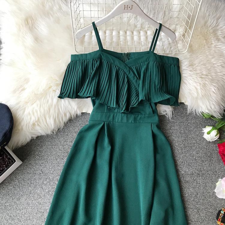 2019 Spring Women Chiffon Pleated Braces Sling Spaghetti Strap Goffer Long Dress Ladies Ruffles Empire Drapped Swing Slip Dress 151