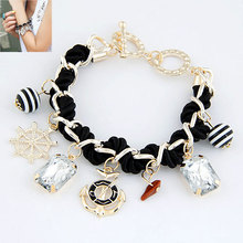 Fashion Sweet Anchor Crystal Multi Element Pendant Knitted Bracelet Female Jewelry