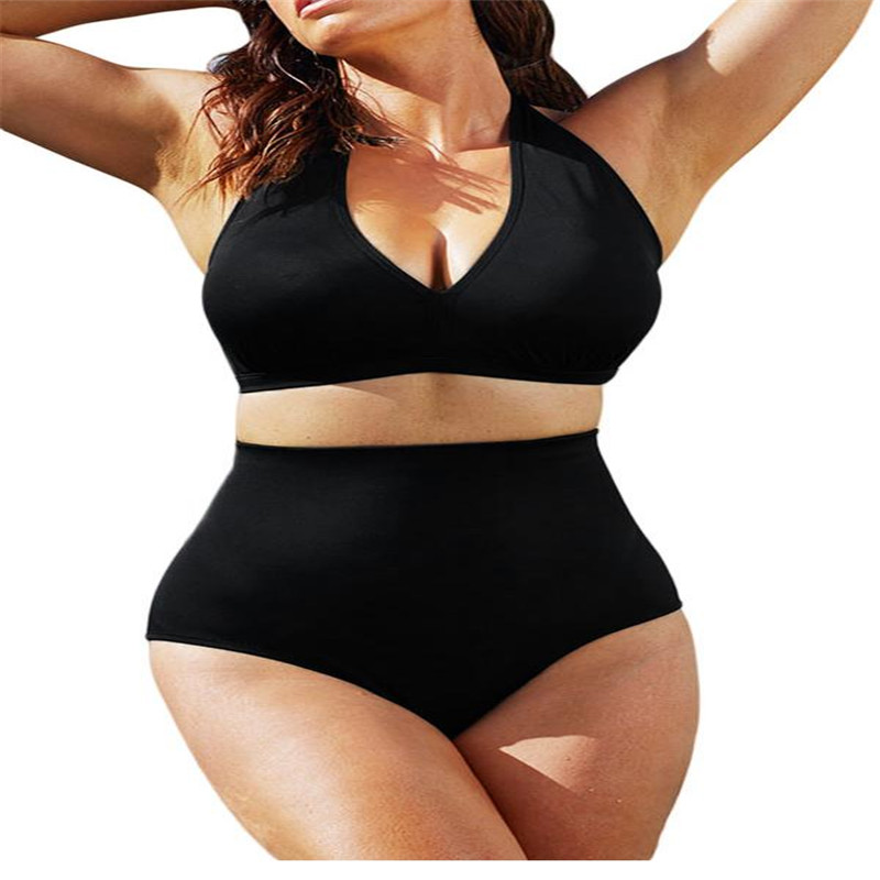 New Hot Woman Bikinis Set Solid Black High-waisted Halter Bikinis Set Swimsuit Plus size Large Swimwear Set Bikinis Set<br><br>Aliexpress