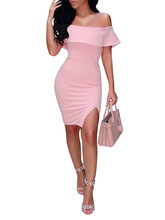 2017 New Sexy Pink Women Dress Slash Neck Off The Shoulder Collar Dress Sheath Knee-Length Skit