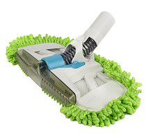 Vacuum Mophead Nozzle with Green Microfiber Dust Fringe Scrubbing Pad & Nylon Brush Brush Bent in All Directions