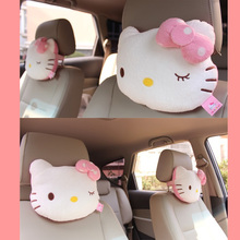 Car Neck Cushion Hello Kitty Accessories Car Headrest Pillow Cute KT Pink Auto Safety Seat Rest Support Pillows