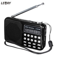 LEORY Digital AM/FM Radio Portable Voice Recorder Speaker Rechargeable USB TF Mp3 Player LED Flashlight Radio FM