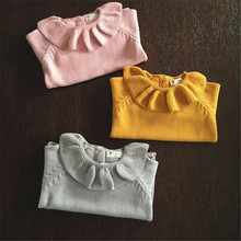 Toddlers Girls Lotus Leaf Collar Sweater Cute Child Baby Primer Shirt Knitted Sweater Baby Girl Clothing Free Shipping(China)