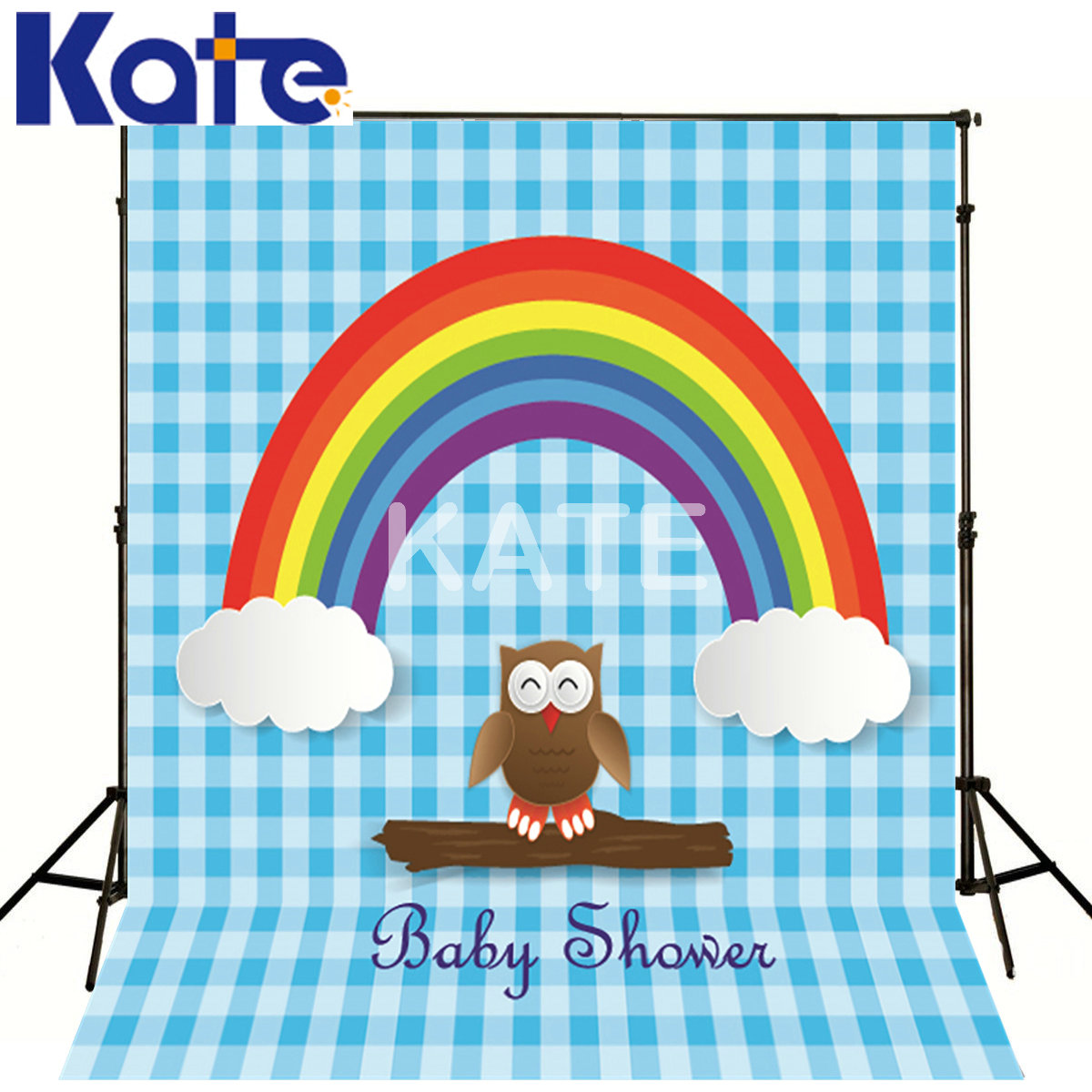 Kate Photography Backdrops 10X10 Owl Rainbow Clouds For New Baby Kate Background Backdrop<br>