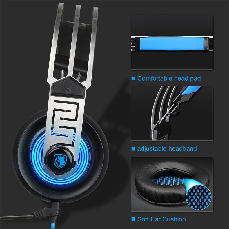 Sades A7 USB Gaming Headset Headphones 7.1 Stereo Surround Sound Earphone Game Headphone with Microphone Led for PC Laptop Gamer (6)