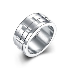 New Design Fashion Men Jewelry Stainless Steel Rings For Men Vintage Engraved Rectangle Wide Wedding Bands Men Ring