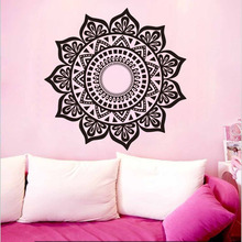 DCTOP Indian Mandala Pattern Black Vinyl Wall Sticker Home Decor Room Decorations Mandalas Lotus Wall Decals Removable