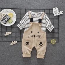 2017 Autumn Childrens Baby Girls Boys Cotton Cartoon Cat T Shirt Stripe Straps Child Leisure Sports Kids Suits baby clothing set
