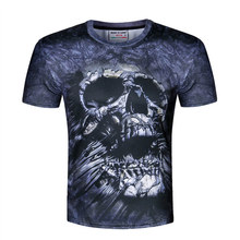 High quality 2017 new Heavy metal 3D t shirt Skull/lion/Wolf funny  tee shirts short sleeve summer for men tops