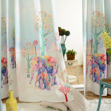 Elephant pattern 3d curtains colorful for kids room Full Light Shading 3D curtain for living room Cartoon printed luxury