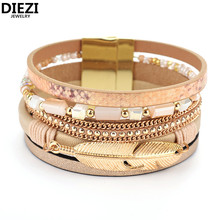 DIEZI Fashion Brazilian PU Leather Leaves Beads Bracelets For Women Korean Velvet Magnet Buckle Bohemia Bracelets Bangles(China)