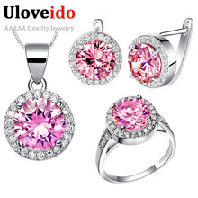 Uloveido Silver Color Wedding Accessories Crystal Bridal African Costume Jewelry Sets with Pink Stones Cubic Zirconia T438