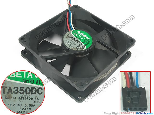 Free Shipping For Nidec TA350DC M34709-35 DC 12V 0.50A 4-wire 5-pin connector 90x90x25mm Server Square Cooling Fan<br>