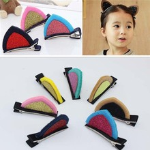 Fashion Lovely Girl Cute Wool Felt Cat Fox Ear Hair Clip Children Baby Kids Hair Accessories Hairpins Barrettes Headwear