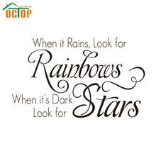 DCTOP Inspirational Words When It Rains Look For Rainbows English Art Wall Sticker PVC Removable DIY Home Decor Decals For Wall
