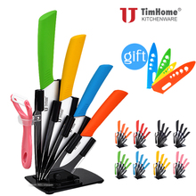 "3""4""5""6"" Inch kitchen ceramic knife set Holder + Peeler + Acrylic Stand 4pcs covers as Free Gifts"