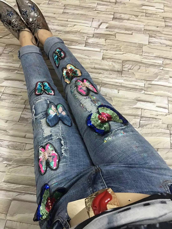 2017 sequin jeans woman vaqueros rotos mujer ripped jeans for women jeans with embroideryÎäåæäà è àêñåññóàðû<br><br>