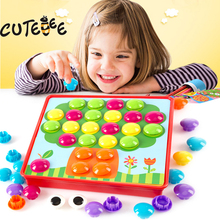 CUTEBEE Wooden Toys for Children Montessori Toy Puzzle Educational Buttons Mushroom Nails Buckle Board for Kids Baby Toys(China)
