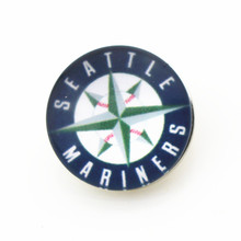 50pcs/lot MLB Seattle Mariners Snap Button Fit 18mm Ginger Snap Jewelry Bracelets&Bangles Baseball Team Sports Snap