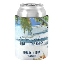 Wonderful Landscape Beer Can Holder Love + The Beach Tropical Wedding Day Favors Can Cooler Anniversary Party Decor Drink Holder