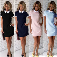 Buy Sexy Women Summer Dress Casual Short Sleeve Solid Female Turn Collar Womens Office Dresses Woman Short Mini Dress outfits for $4.84 in AliExpress store