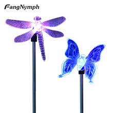 FangNymph 2pcs Outdoor Color-Changing Dragonfly Butterfly Solar Lamps Garden Ground Stake Led Lights Lawn Lamps(China)