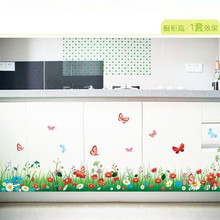 Flowers butterfly green grass baseboard Skirting Line living room PVC wall stickers removable home decorative waterproof decor